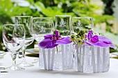 Purple orchids (table decoration)