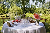 Laid table in romantic garden