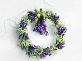 Wreath of cotton lavender and lavender