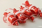 Red parcels with letters (Christmas decoration)