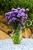 Chive flowers in a vase