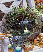 Ivy, sloes and windlight in bark basket with autumn leaves