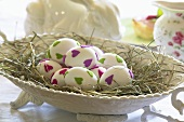 Easter eggs with felt decorations