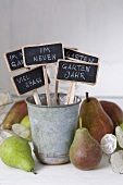 Garden labels and pears