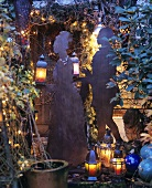 Garden decorated for Christmas with metal figures
