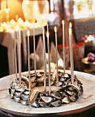Wreath of mussel shells with candles