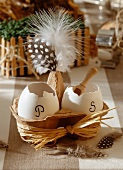 Easter decorations: egg shells and salt and pepper holders