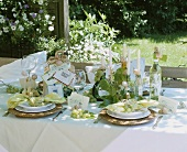 A festively laid table for wine tasting outdoors