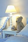 A teddy bear in a bedroom