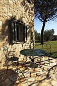 Garden furniture on a terrace of a country house, Umbria, Italy