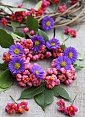 Autumnal wreath with spindle flowers