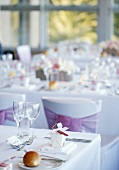 Tables laid for a wedding