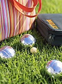 Boules and bags on grass