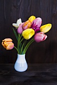 Several tulips in a vase