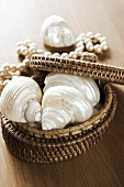 Shells and string of pearls in jewellery basket