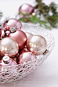 Christmas baubles in wire basket