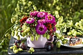 Dwarf zinnias and hops in a jug