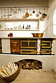 Old kitchen with wood-burning stove, Schloss Hof, Austria