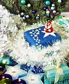 Blue Christmas cake and Christmas decorations