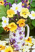 Lavender and nasturtiums in a vase