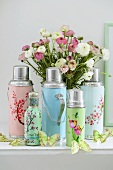 Pastel-coloured, flower-patterned Thermos flasks