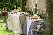 A cake buffet with tray bakes in a garden