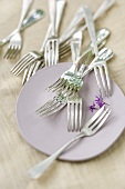 Cake forks and a cake plate