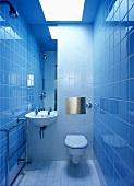 A modern tiled bathroom with a toilet, a basin and a skylight