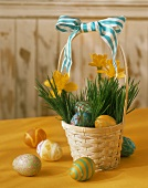Easter Basket Filled with Colorful Easter Eggs