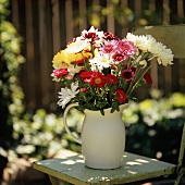 Asters and Mums in a White Pitcher