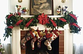 Decorated Mantle with Hanging Stocking