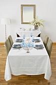 Dining Table Set For Hanukkah Dinner