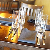 Place Settings on a Restaurant Table