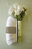 White Silk Clutch with White Bouquet