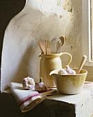 Stoneware: a mortar and a jug
