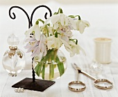 Snowdrops in a glass vase and bathroom utensils