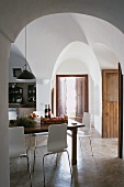A dining room in a dammuso (Pantelleria, Sicily, Italy)