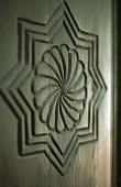 A carved wooden door
