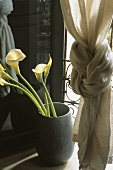 Callas lilies in a floor vase next to a curtain