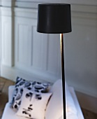 Floor lamp with black shade in front of a sofa with pillows