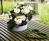 weiße Blumen in Metallschale und herzförmiger Blätterkranz auf einem Gartentisch