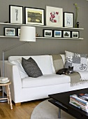 A cat on a white sofa and a floor lamp against a grey wall with framed pictures on a white shelf