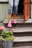 A child wearing pink shoes standing by a front door with a potted plant at the bottom of a three stone steps