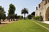 Italian garden with a romantic castle