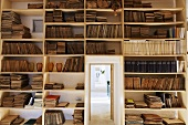 Built in shelves filled with old books