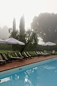 Foggy morning -- poolside with lounge chairs and sun umbrellas