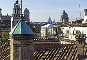 Roof landscape with a view of a church tower in a Mediterranean city