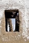 Blick durch Öffnung einer Lehmmauer auf den Palmenstamm, Ägypten