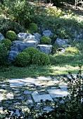 A garden path in a Mediterranean landscape