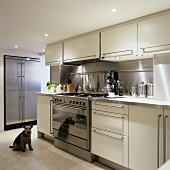 A designer, open-plan fitted kitchen with a lowered ceiling - spotlight illuminate the white cupboards with stainless steel handles